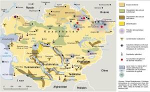 Plano de Asía central y sus recursos naturales.