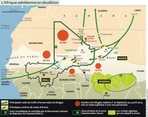 Mapa que muestra varios factors de inestabilidad, así como las rutas del narcotráfico y de los yihadistas. Fuente Europa Ecologie (http://transnationale.eelv.fr)