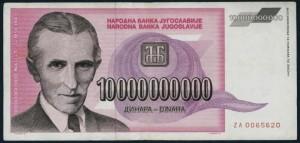 Billete yugoslavo con la efige de un ya maduro Tesla. Yugoslavia fue el único país que rememoró constantemente su figura. Hasta 1989 donde croatas y serbios no podían honrae juntos un personaje tan sinceramente yugoslavo.
