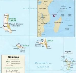 Plano de la pequeña isla francesa de Mayotte.