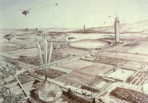 El urbanismo se ocupa tanto planifiar una ciudad como de diseñar un parque. Proyecto de Broadacre city, de Frank Lloyd Wright 1958.