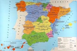 Mapa político de España con sus 17 Comunidades Autónomas.