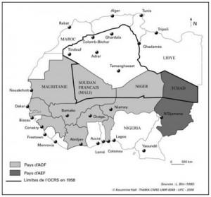 Mapa del proyecto francés de 1957 para crear un territorio sahariano dependiente de Francia. El proyecto que protegía las instalaciones nucleares del desierto argelino, fue abandonado rápidamente.