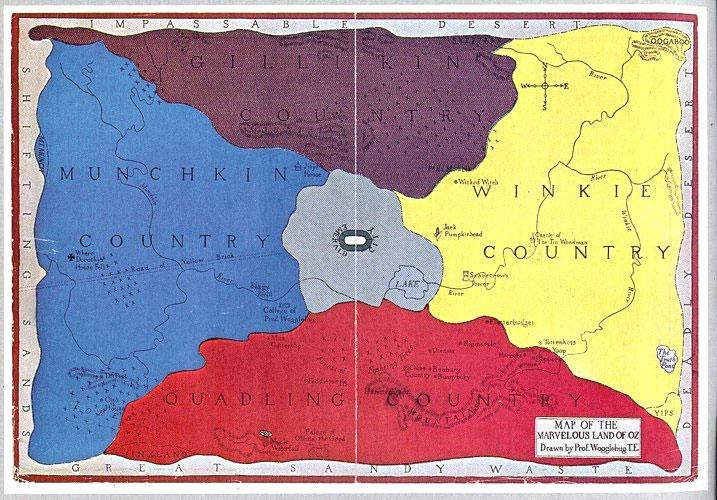 Mapa del Páis de Oz. Allí viven muchos nacionalistas.